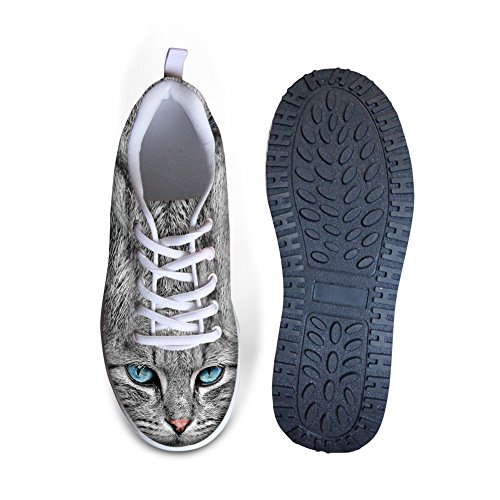 Shoes DESIGNS Sneakers FOR Lace 3 Thick Rocking 3D U Swing Wedges Platform Flexible Heels Ups Pattern Cat Women's Animal 6q6rtHRw5n