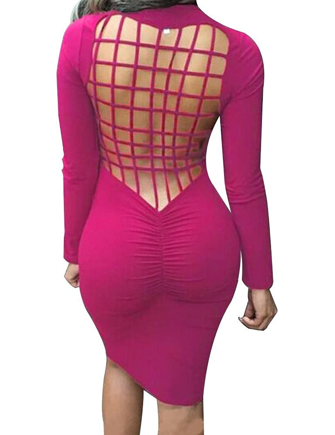 YiYaYo Womens Long Sleeve Back Mesh Cross Cut Bandage Evening Dresses