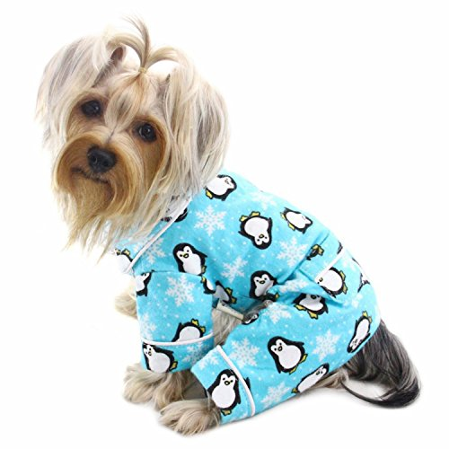 Klippo Dog/Puppy Penguins & Snowflake Flannel Pajamas/Bodysuit/Loungewear/Coverall/Jumper/Romper for Small Breeds - Turquoise (Medium)