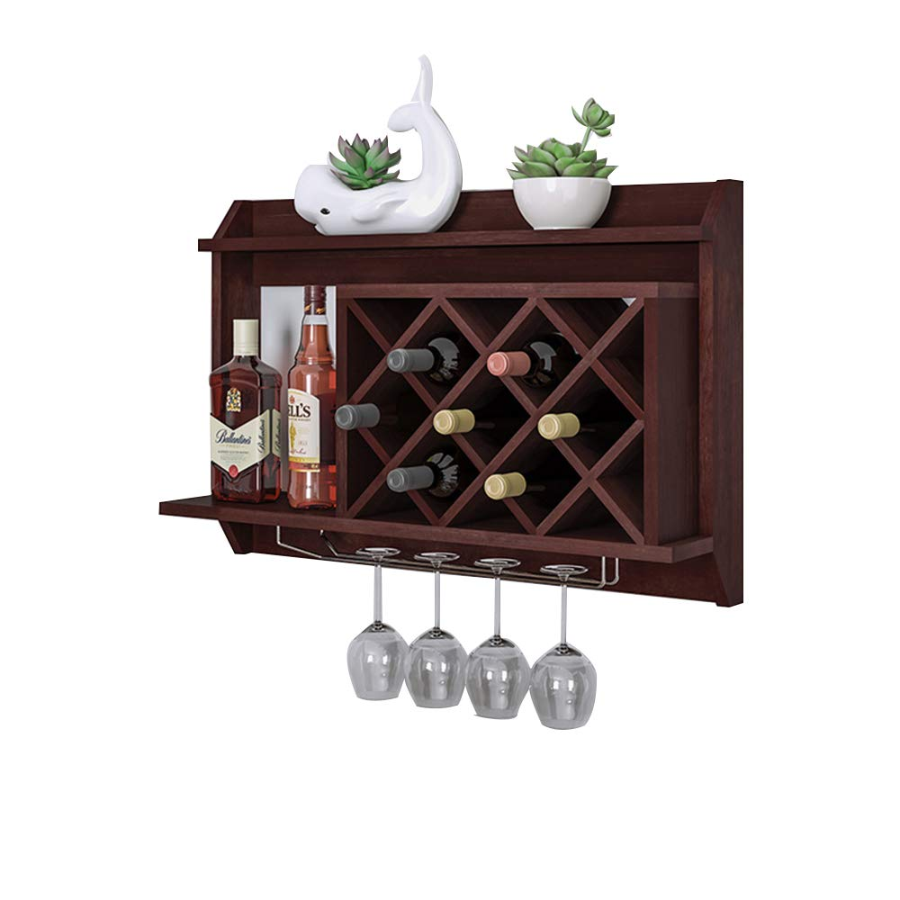 HAIZHEN ストレージシェルフ ワインラックウォールマウント、ワイングラス&ワインボトルディスプレイラック、パイン材、7ボトル4ロングステムガラスホルダー B07K24WGYB
