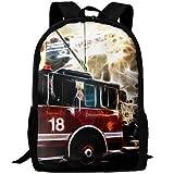 Fire Truck Wallpaper Interest Interest Print Custom Unique Casual Backpack School Bag Travel Daypack Gift