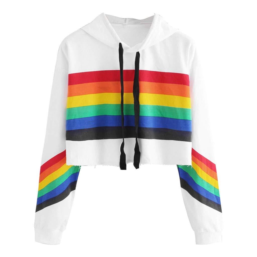 Redacel Women's Pullover Tops, Long Sleeve Hoodie Pullover Rainbow Print Sweatshirt Blouse Tops(L,White) by Redacel