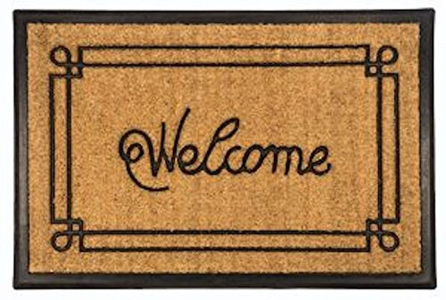 Welcome with Border Recycled Rubber & Coir Doormat