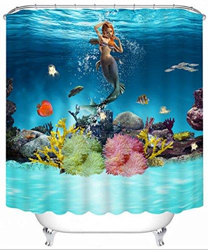 Morning-sunshine 72 x 72 Inch Underwater World Ocean Deep Sea Beautiful Mermaid Art Shower Curtain-Heavy-duty Waterproof Polyester Fabric Bath Curtain