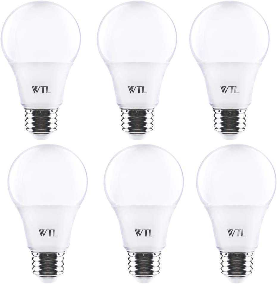 WTL A19 LED Bulb 6 Pack 40w Equivalent Warm White 2700K 480Lm Non-dimmable LED Light Bulbs Medium Base(E26)for Home, Kitchen, Living Room, Bedroom & Commercial Lighting