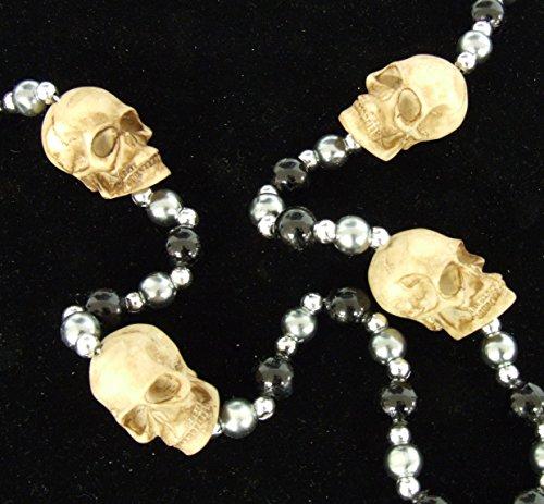 Skull Mardi Gras Beads - Human Skull Mardi Gras Bead Necklace Spring Break Festival New Orleans Beads