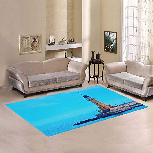 (Beautiful Lighthouse Landscape Large Custom Non-Slip Modern Floor Area Rug Pad Mat Oriental Commercial Carpet for Basement Bedroom Living Room Kitchen Home Decor 5' X 7' Indoor)