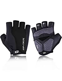 RIVBOS Bike Gloves Cycling Gloves Fingerless for Men Women with GEL Padding Breathable Mesh Fashion Design for Mountain Bicycle Motorcycle Riding Driving Sports Outdoors Exercise CHG002 (Black L)