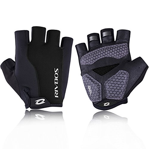RIVBOS Bike Gloves Cycling Gloves Fingerless for Men Women with GEL Padding Breathable Mesh Fashion Design for Mountain Bicycle Motorcycle Riding Driving Sports Outdoors Exercise CHG002 (Black S)