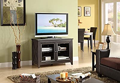"Premium TV Stand Entertainment Console Rack Rear for up to 44"" inch and 135 lbs TV with Shelf for Modern Contemporary Home Living Room Spaces, Black Color"