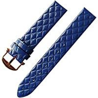 16mm Womens Candy Color Patent leather Wrist Watch Strap Band Rose Gold Buckle (Blue)