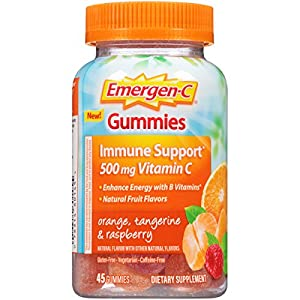 Emergen C Gummies (45 Count, Orange, Tangerine and Raspberry Flavors) Dietary Supplement with 500 mg Vitamin C per Serving, Gluten Free