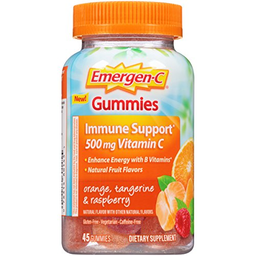 Emergen-C Gummies (45 Count, Orange, Tangerine and Raspberry Flavors) Dietary Supplement with 500 mg Vitamin C Per Serving, Gluten Free