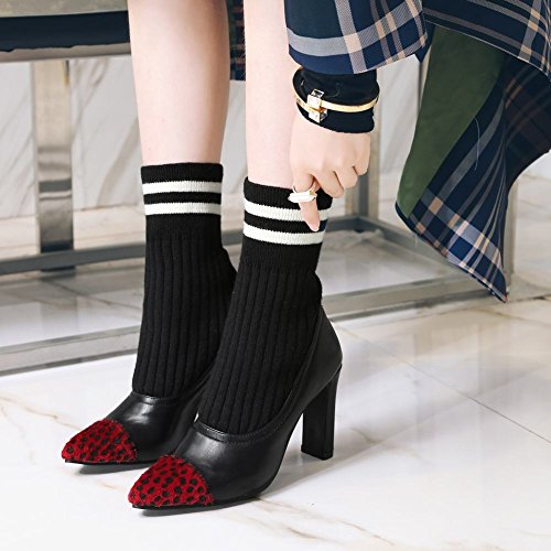 Short Slip Boots Mee On Black High Shoes Heel Sweet Women's qtOtw0B6
