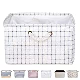 DOKEHOM DKA0611WES2 15'' Large Storage Basket (5 Colors, 15'' and 17''), Drawstring Square Cotton Linen Collapsible Toy Basket (White Checker, M)