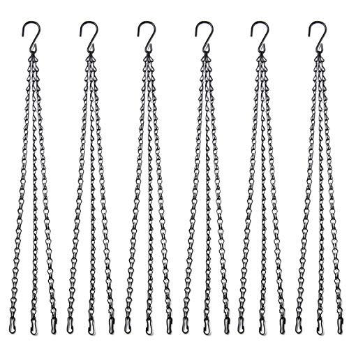 Flower pot chain 22 Inch Hanging Flower Basket Galvanized Replacement Chain 3 Point Garden Plant Hanger (6pcs(black))