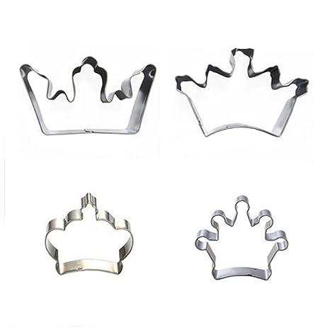 Wocuz 4 corona rey Reina Príncipe Princesa formas cortador de galletas de acero inoxidable cortador de
