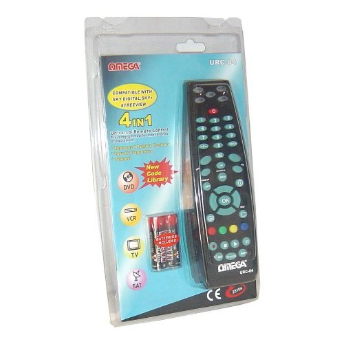 Price comparison product image Omega 23104 Universal 4 in 1 Remote Control for Sky TV DVD VCR Multi Brand Black By Incommunicado (0001-01-01)