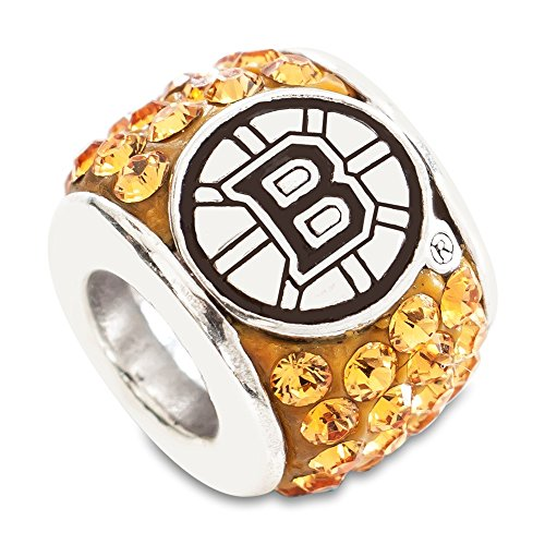 Solid 925 Sterling Silver BOSTON BRUINS PREMIER CRYSTAL BEAD Pendant Charm (0.4mm)