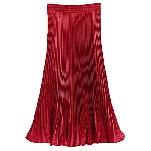 hibote Mujeres plisado de la falda Rojo