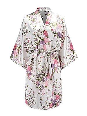 EPLAZA Women Floral Satin Robe Bridal Dressing Gown Wedding Bride Bridesmaid Kimono Sleepwear