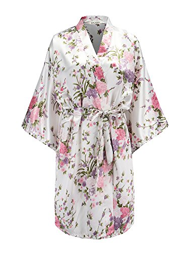 EPLAZA Women Floral Satin Robe Bridal Dressing Gown Wedding Bride Bridesmaid Kimono Sleepwear (White)