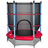 "Giantex 55"" Round Kids Mini Jumping Trampoline W/Safety Pad Enclosure Combo (Multicolor) (Black+Blue+Red)"