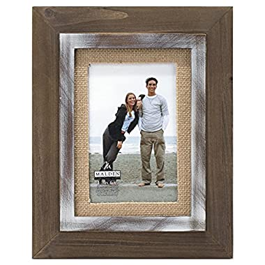 Malden International Designs Rustic Distressed Wood Fashion Two Tone Cedar Picture Frame with Burlap Mat to Hold 4 by 6-Inch Photo, 4 by 6-Inch