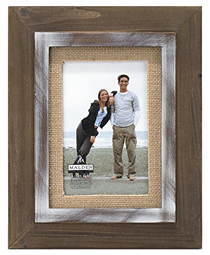 (Malden International Designs Rustic Distressed Wood Fashion Two Tone Cedar Picture Frame with Burlap Mat Picture Frame, 4x6, Brown)