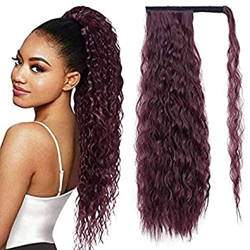 22 Synthetic Wrap Around Ponytail Hair Extensions For Black Women Corn Wave Clip In Ponytail