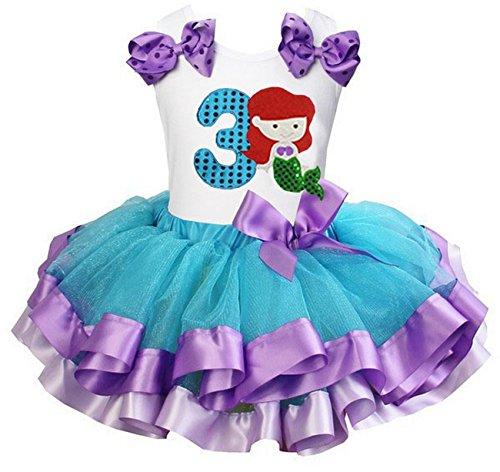 Kirei Sui Girls Blue Lavender Satin Trimmed Tutu Number 3 Mermaid Birthday Dress ()