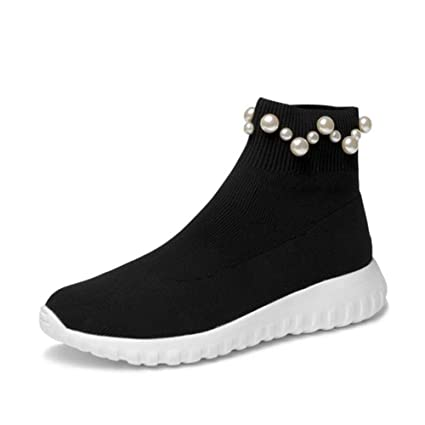 0c19f58bf76af Amazon.com: YaXuan Women's Booties, Autumn Winter New Low-Knit ...