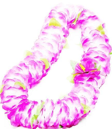 [Forum Novelties Deluxe Color Dipped Purple White Silk Flower Hawaiian Lei] (Hawiian Costumes)