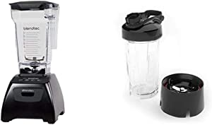 Blendtec Classic Fit Blender with FourSide Jar (75 oz), 30-sec Pre-programmed cycle, Black & GO Cup (34 oz), Travel Bottle, Reusable Single Serve Blender Cup, Travel Lid, BPA-free Jar, Clear