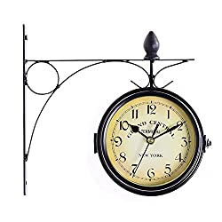 Retro European Wall Hanging Clock Double Side Two Faces Arabic Numbers Scroll Wall Mount Home Decor KF039 Black