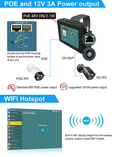 4K 5 in 1 IP Camera Tester, IP/TVI/CVI/AHD/CVBS Camera Monitor Test, 4 inch Monitor Touch Screen, POE/IP Discovery/Rapid ONVIF/Camera Test Report, 1800ADH-Plus CCTV Tester by AP Security (Image #3)