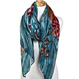 Scarfand's Artistic Painting Romantic Rose Long Scarf Wrap / Shawl (Teal with Red Rose)
