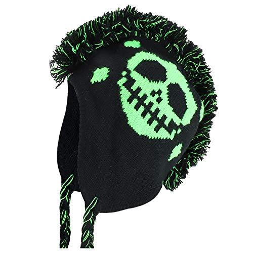 Armycrew Neon Green Skull Mohawk Winter Earl Flap Ski Beanie Hat - Black