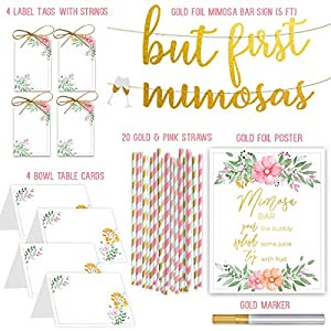 Mimosa Bar Sign But First Mimosas – Gold foil poster,4 Bottle Tags, 20 Striped Paper Straws, 4 Table Cards & a Gold Marker – Super Set for bridal/baby shower, brunch decorations