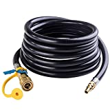 SHINESTAR 12 FT RV Propane Quick Connect Hose, RV Quick Connect Propane Hose, Quick Disconnect LP Hose Extension - 1/4 Inch Safety Shutoff Valve and Male Full Flow Plug for LP Gas Low Pressure System