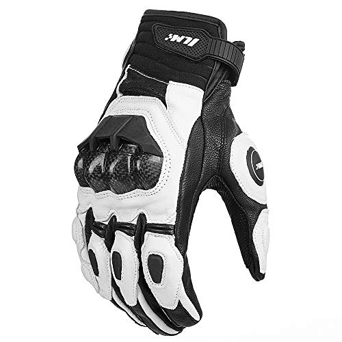 ILM Air Flow Leather Motorcycle Gloves For Men and Women (XXL, WHITE)