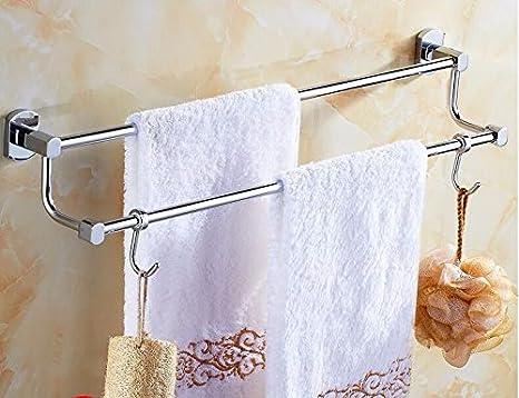 Accesorios de baño Yomiokla - Toalla de metal para cocina, inodoro, balcón y bañoDoble polo doble 40cm no necesita perforar: Amazon.es: Bricolaje y ...
