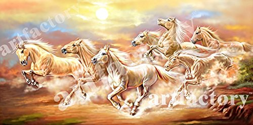 The Art Factory Vaastu Seven Horse Canvas Painting (Copyright Protected) (7 Horses Running)