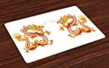 Ambesonne Dragon Place Mats Set of 4, Twin Fire Dragon Zodiac Statues Asian Art Chinese Philosophy Themed Picture, Washable Fabric Placemats for Dining Room Kitchen Table Decor, Vermilion Yellow