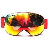Loyalfire Ski Goggles, Polarized Snow Goggles with Double Layers UV Protection Anti-Fog Myopia Frame Ski Mask Glasses Skiing Men Women Kids Snow Snowboard Goggle