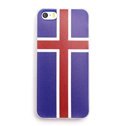 iProtect EM Schutzhülle Apple iPhone 5 5s SE Flag TPU Soft Case Island Flagge