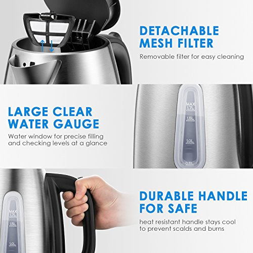 Electric Kettle 1.7L Stainless Steel Tea Kettle with British Strix Control, 1500W Fast Boiling Water Kettle, Hot Water Kettle Electric with Auto Shut-Off, BPA-Free By Aicok by AICOK (Image #7)