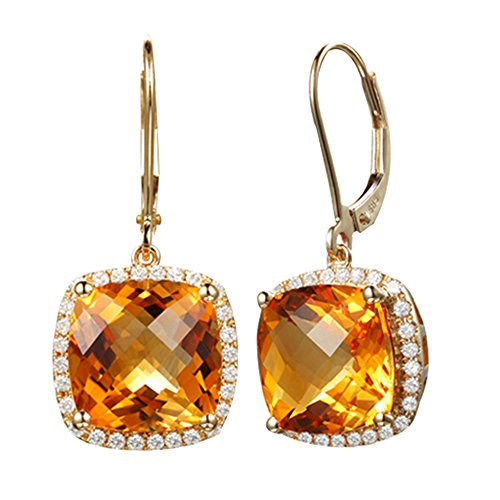 Vintage Noble 14K Yellow Gold Cushion Cut Natural Citrine Diamond for Women Fashion Earring Sets by Kardy