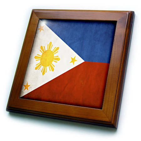 3dRose ft_28282_1 Philippines Flag-Framed Tile, 8 by 8-Inch