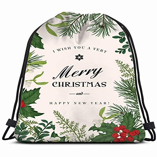 - greeting christmas card vintage style winter business finance Drawstring Backpack Gym Sack Lightweight Bag Water Resistant Gym Backpack for Women&Men for Sports,Travelling,Hiking,Camping,Shopping Yoga